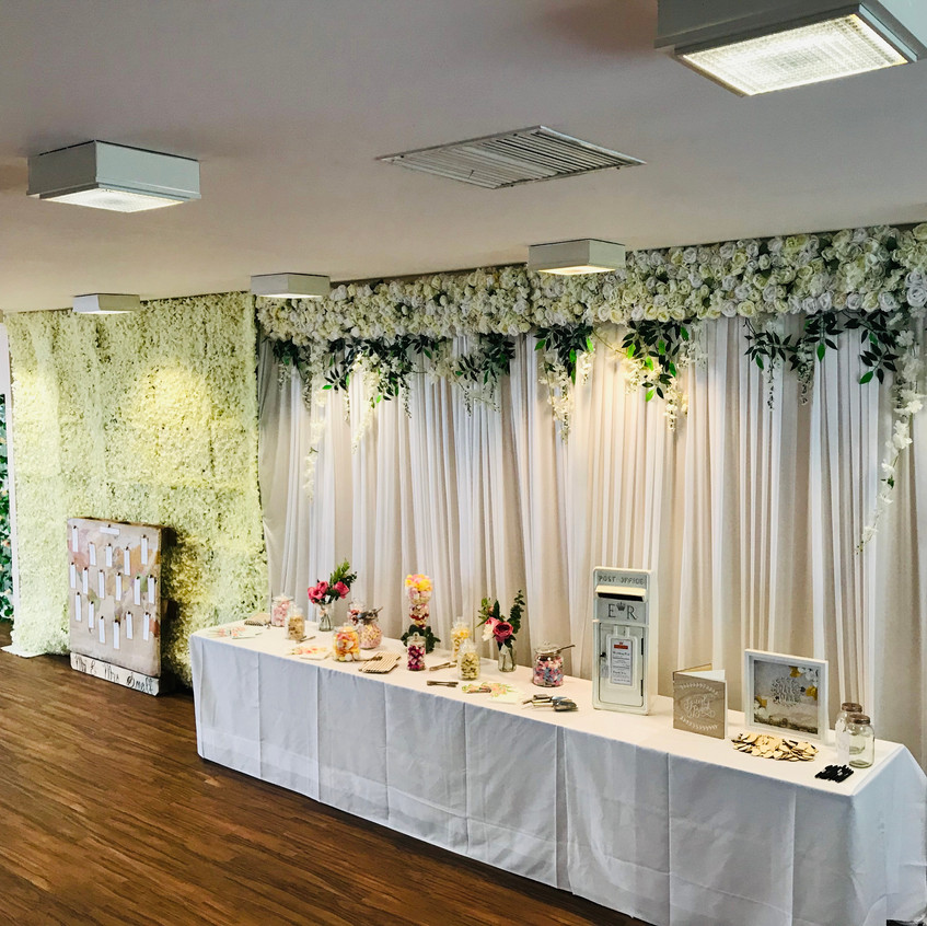 Flower Wall at Gilwell Park Wedding in C