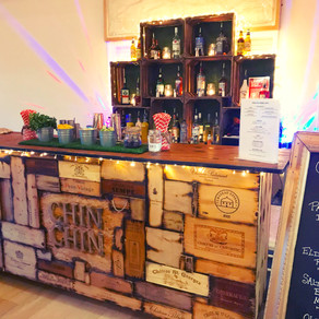 Winter Wedding in Rye | Chin Chin Wine Box Bar at Mike & Shay's Village Hall Wedding