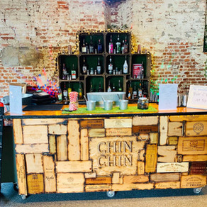 Anne of Cleves Barn Wedding | Chin Chin Wine Box Bar at Danny & Jade's Rustic Wedding in Bra