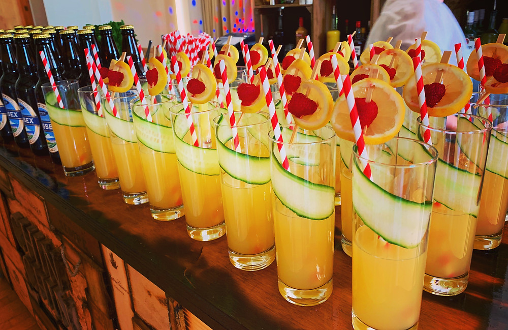 Chin Chin Elderflower Gin Cooler Welcome Drinks at Ewan & Jenny's Spring Wedding at Boxgrove Village Hall in Chichester