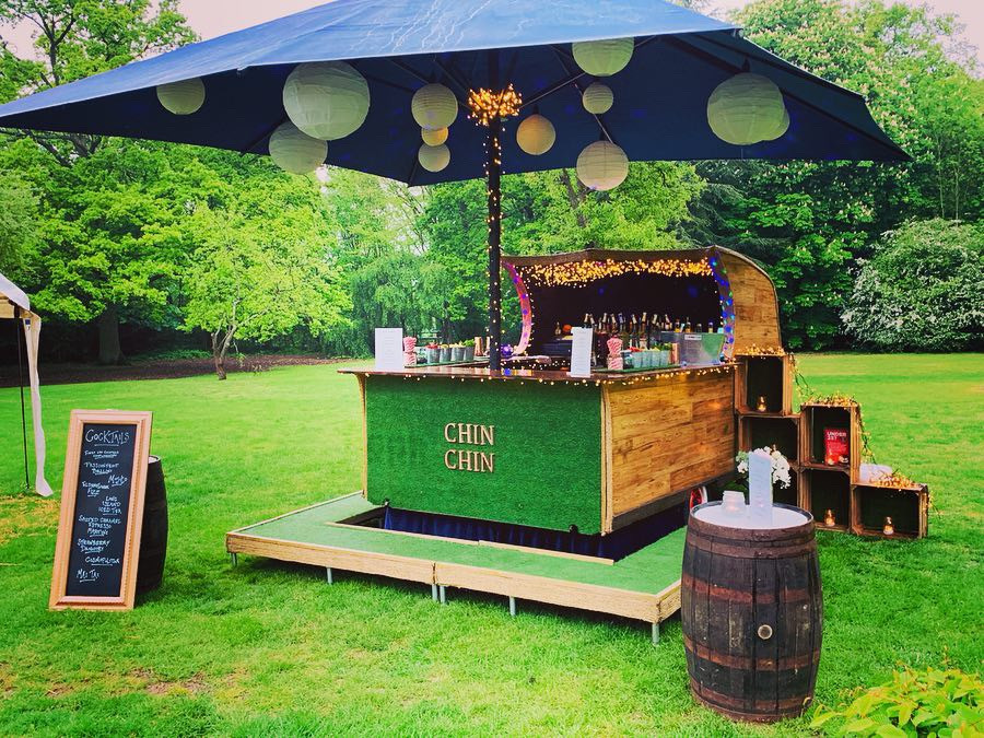 Chin Chin Caravan Bar at Christopher & Samantha's Wedding at Gilwell Park in Chigwell