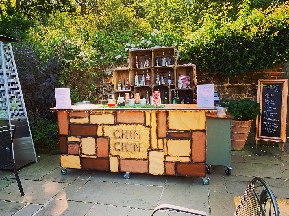 Chin Chin Wine Box Bar at Mark & Sarah's Wedding at Bartholomew Barn in West Sussex