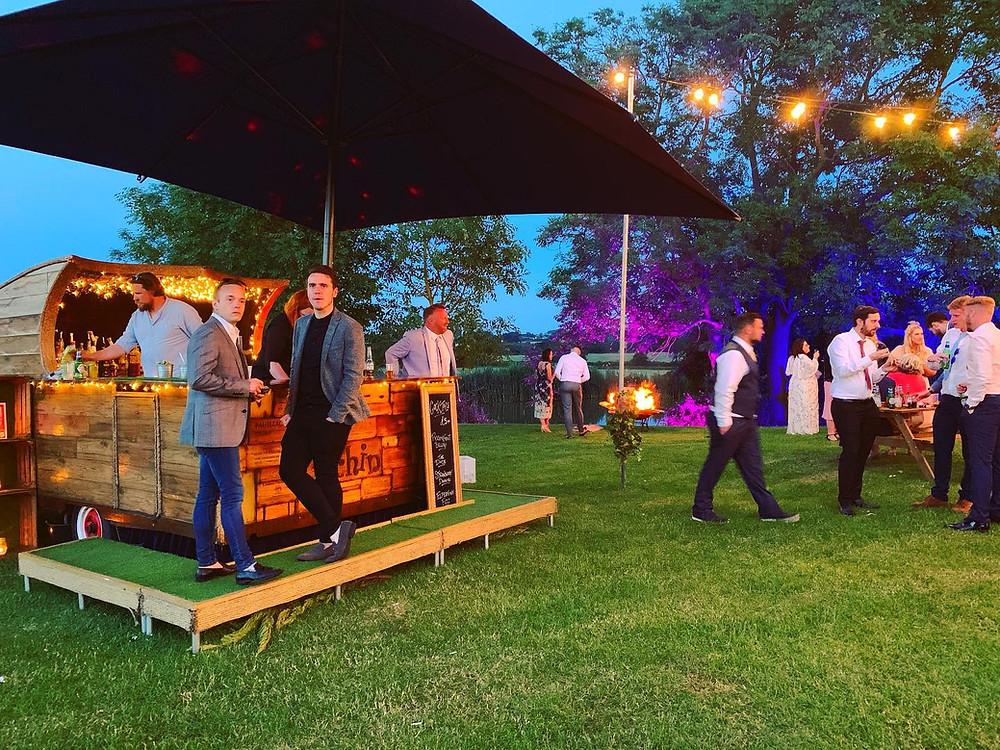 Chin Chin Caravan Bar at Scott & Romy's Farm Wedding in Hockley Essex