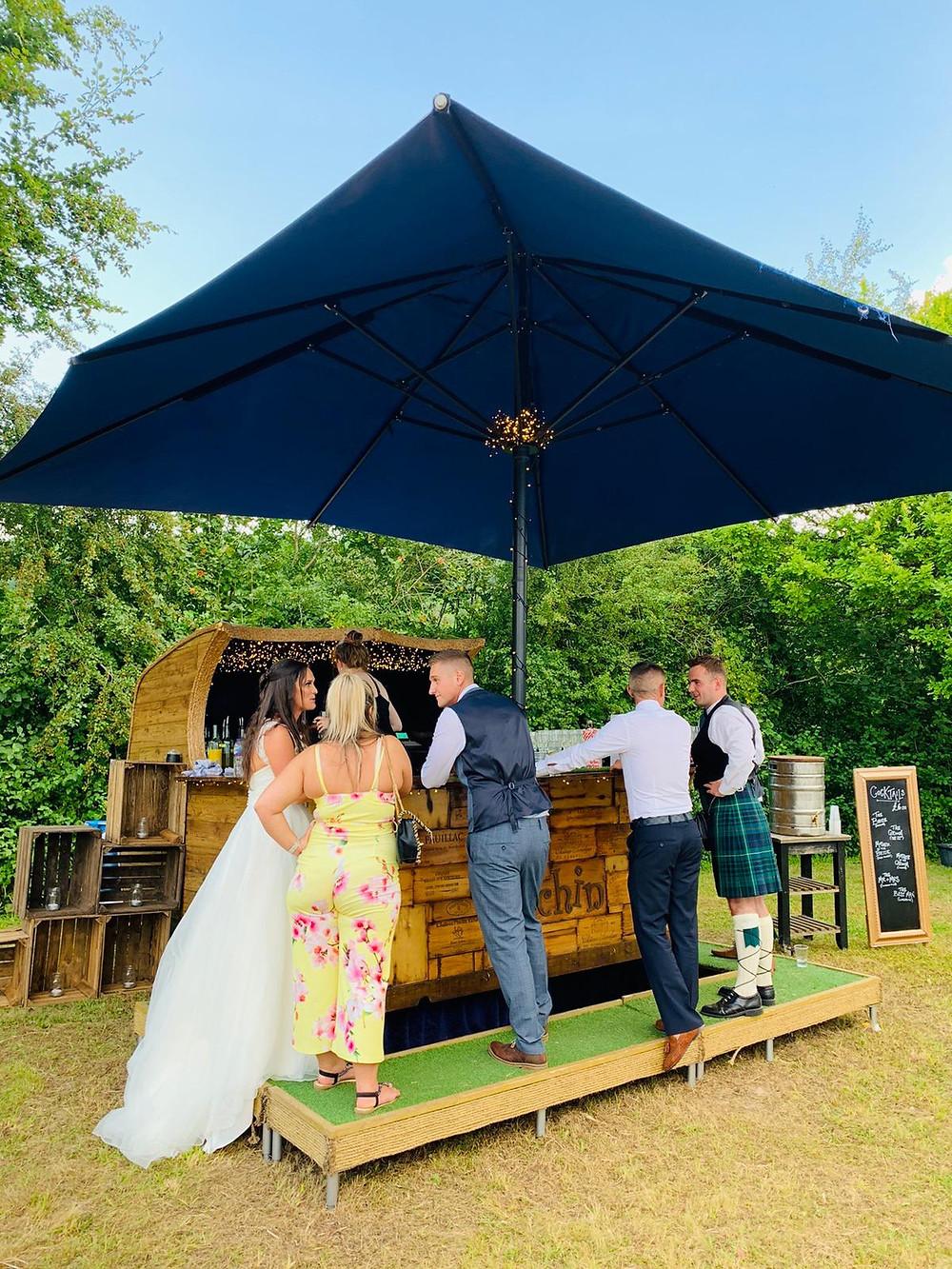 Chin Chin Caravan Bar at Adam & Lizzie's Marquee Wedding in Kent