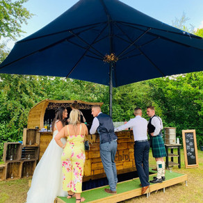 Kent Marquee Wedding | Chin Chin Caravan Bar at Adam & Lizzie's Wedding