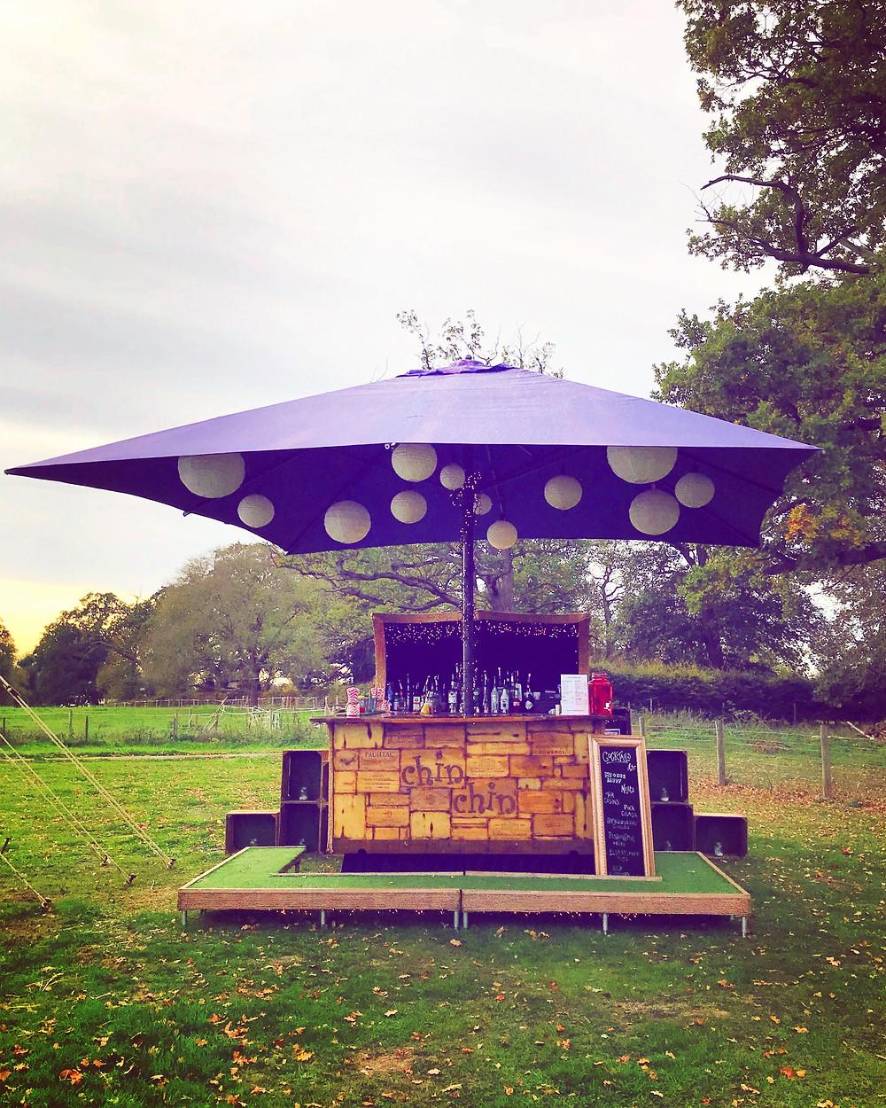 Chin Chin Caravan Bar at James & Rhianna's Autumn Marquee Wedding in Chelmsford, Essex