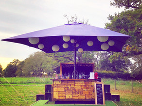 Chin Chin Caravan Bar at James & Rhianna's Autumn Marquee Wedding in Chelmsford
