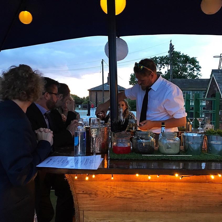 Wedding guests at the Caravan Bar
