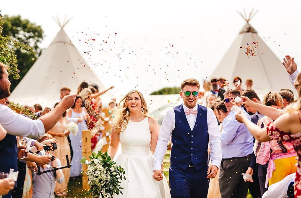 Abi & Greg's Festival Tipi Wedding with Chin Chin Caravan Bar