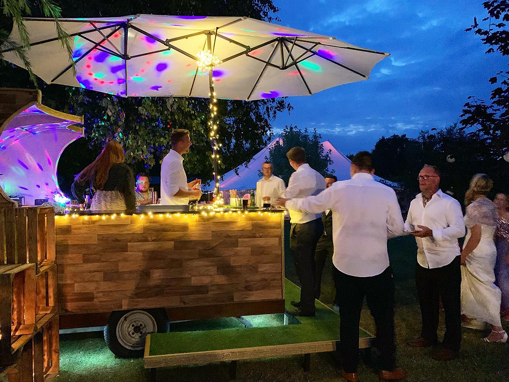 Chin Chin Caravan Bar at Aaron & Kelly's Festival Style Wedding in Maidstone Kent