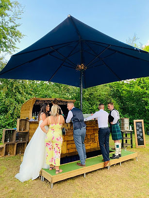 The Bride & Groom with the Chin Chin Car