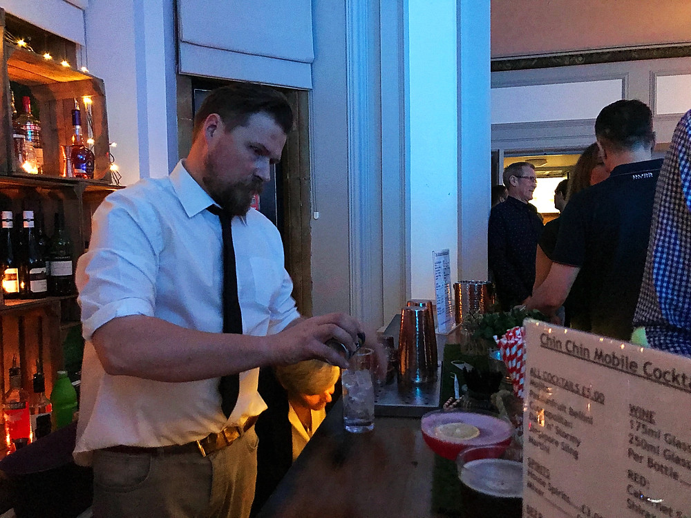 Oliver serving 40th birthday party guests from the Wine Box Bar in East Grinstead