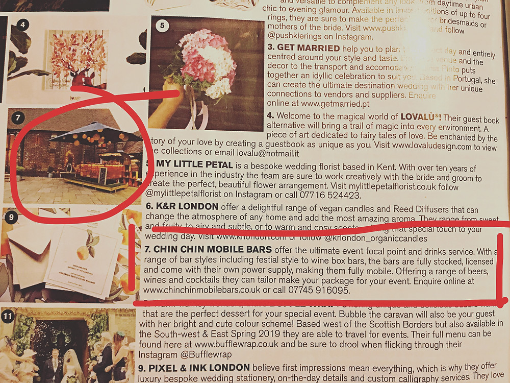 Chin Chin Mobile Bars in Brides Magazine's 'Your Wedding Checklist' Jan/Feb 2019