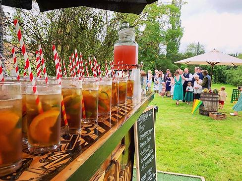 Pimms Welcome Drinks on the Chin Chin Caravan Bar at Chris & Steph's Wedding at Ratsbury B