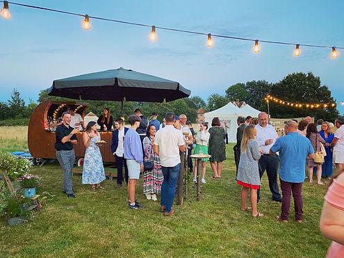 Chin Chin Caravan Bar at a Festival Style Wedding at Warehorne Village Hall in Ashford Ken