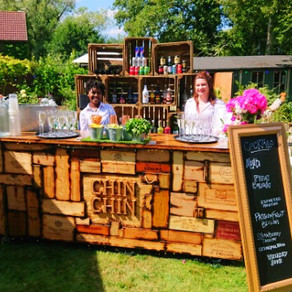 Chin Chin Wine Box Bar at Michael & Laura's Engagement Garden Party in Ashford, Kent