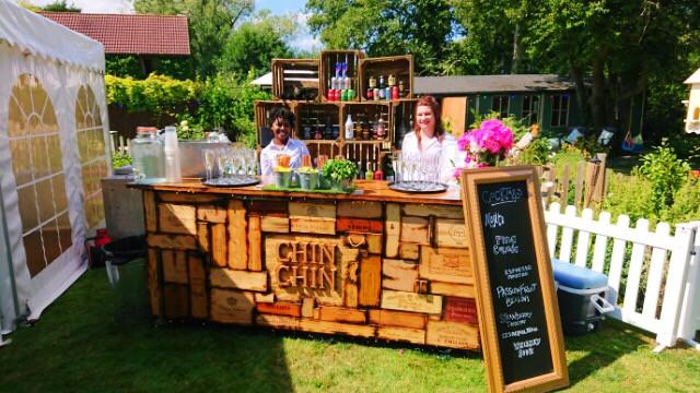 Chin Chin Wine Box Bar at Michael & Laura's Engagement Garden Party