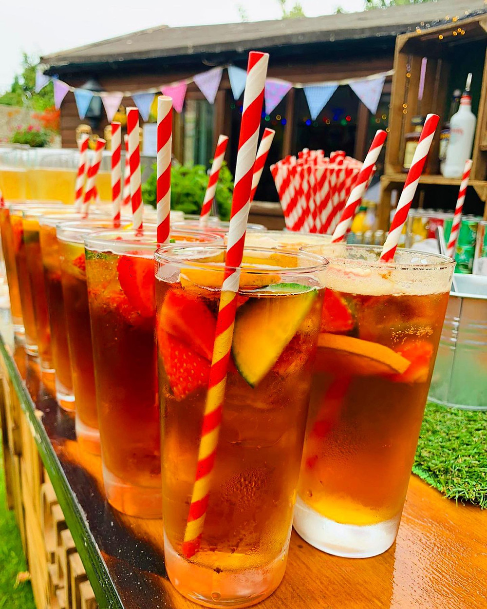 Pimms Welcome Drinks at Garden Party Wedding in Margate, Kent