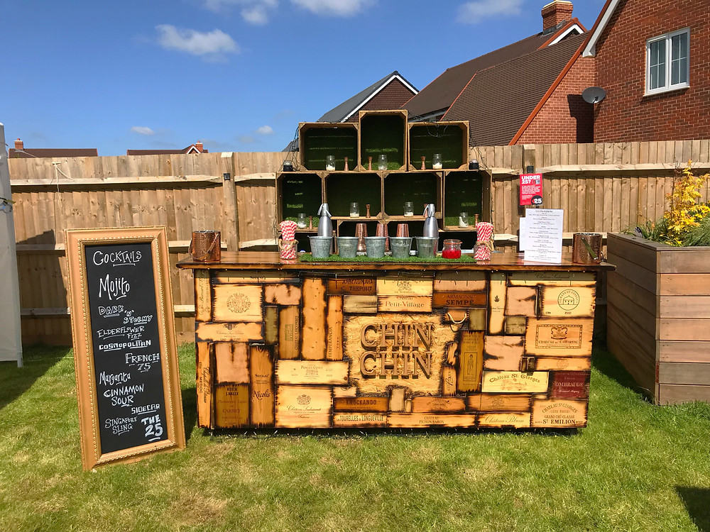 Chin Chin Wine Box Bar at a garden party in Ashford, Kent