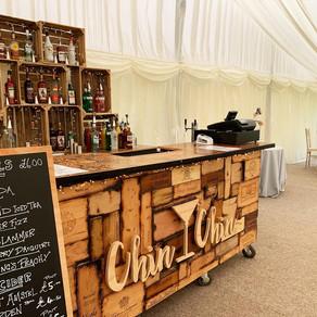 David & Helen's Marquee Wedding   Chin Chin Wine Box Bar   The Hyde Estate, West Sussex