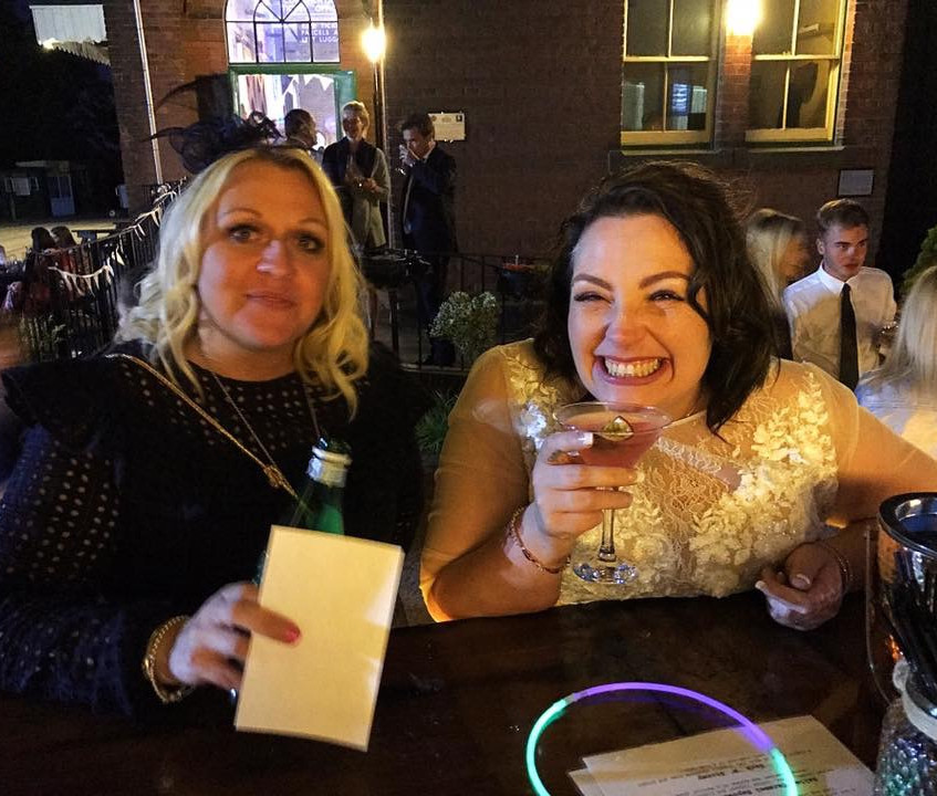 The Bride drinking cocktails