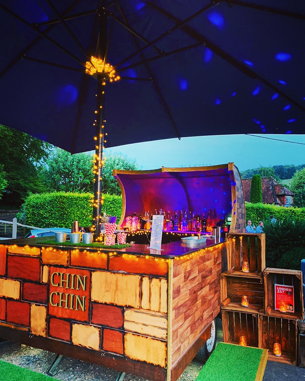 Chin Chin Caravan Bar at Richie & Stephanie's East Dean Village Hall Wedding in Chichester