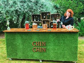 Red Brick Barn Wedding Party | Chin Chin Lawn Bar & Wine Box Bar at Sam & Becky's Essex