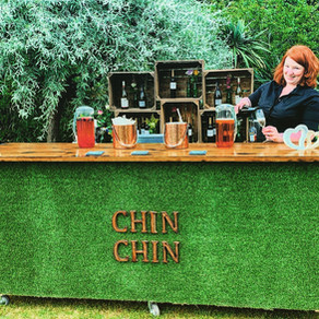 Red Brick Barn Wedding Party | Chin Chin Lawn Bar & Wine Box Bar at Sam & Becky's Essex