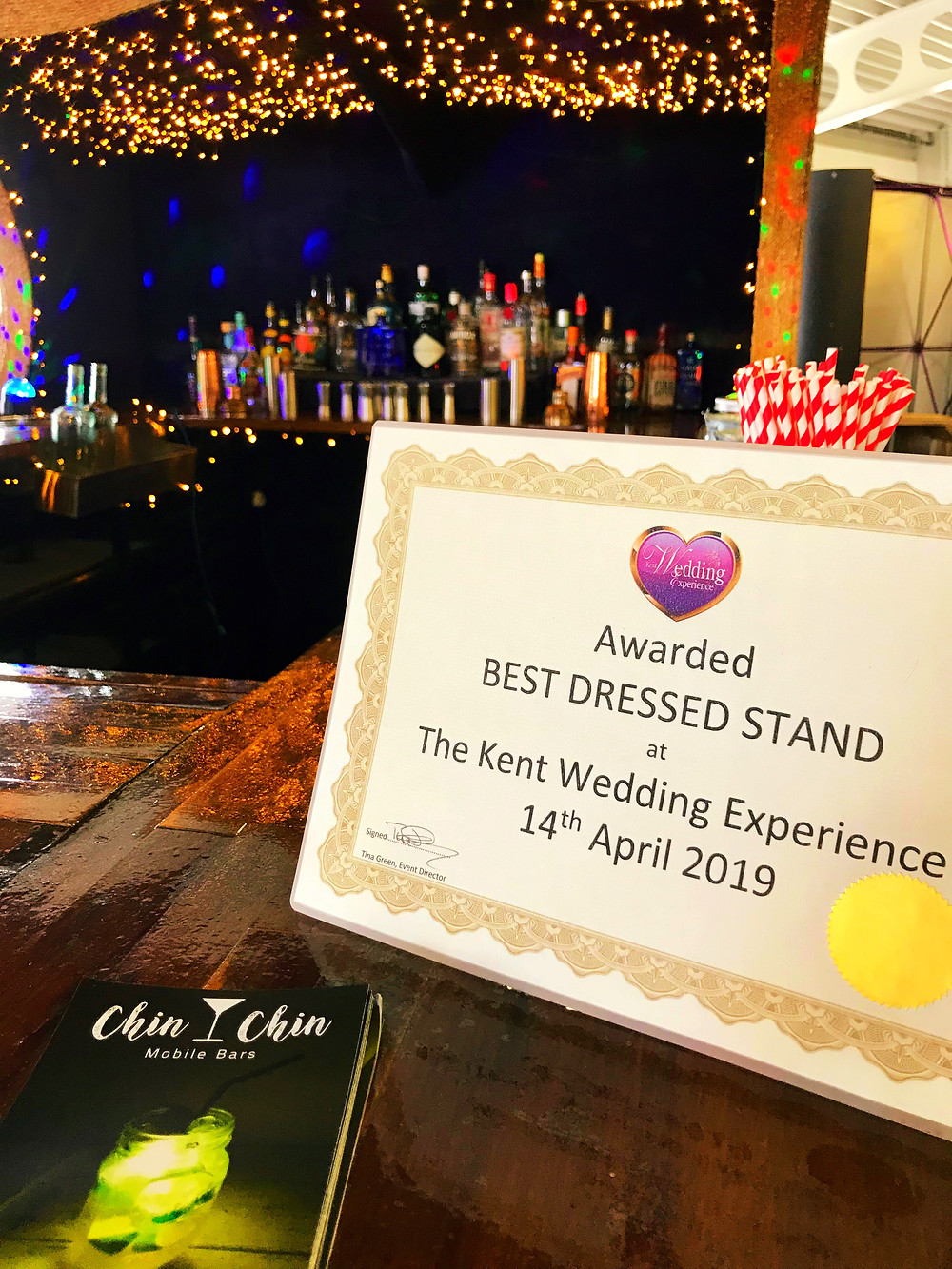 Chin Chin Mobile Bars wins Best Dressed Stand Award at the Kent Wedding Experience Show in Detling
