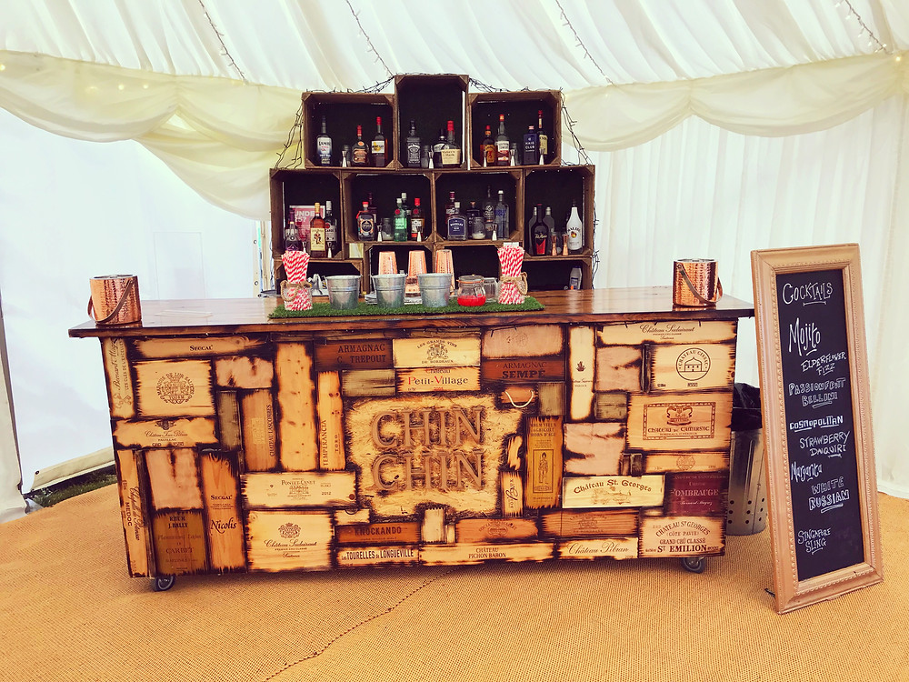 Chin Chin Wine Box Bar at a garden party in Rochester, Kent