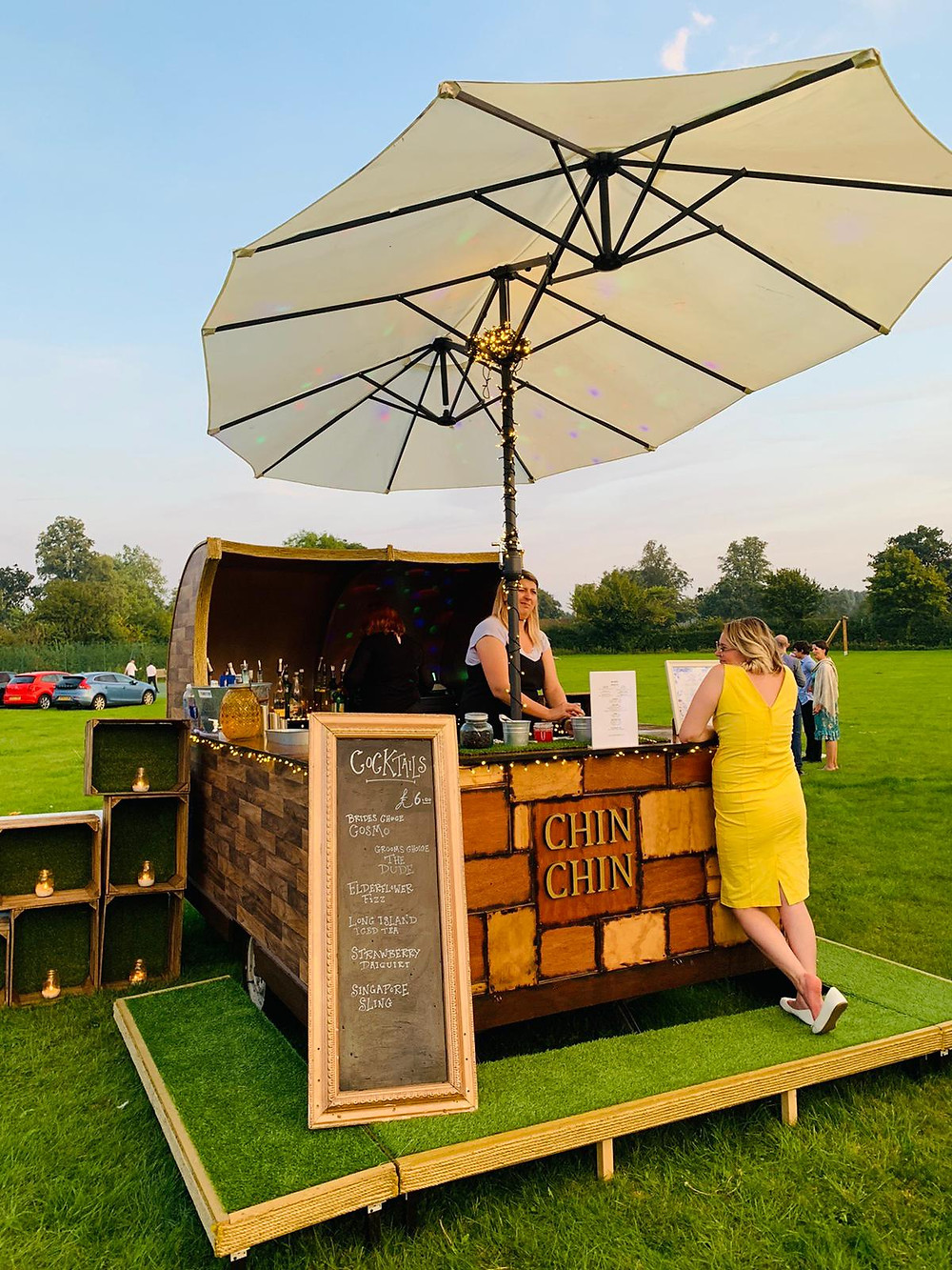 Chin Chin Caravan Bar at Joseph & Maggie's Wedding at Brandeston Hall in Woodbridge