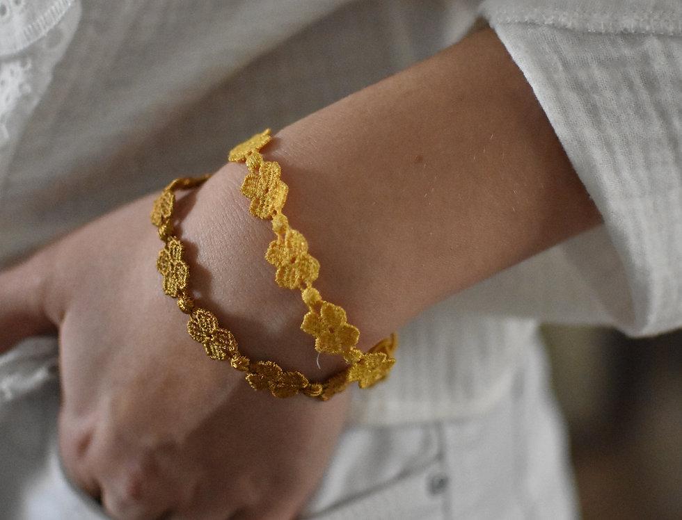 """Bracelet crochet à nouer """"Or foncé"""""""