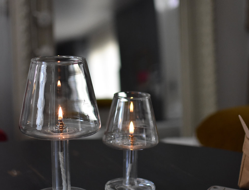 Lampe à huile en verre BIG H 26 cm