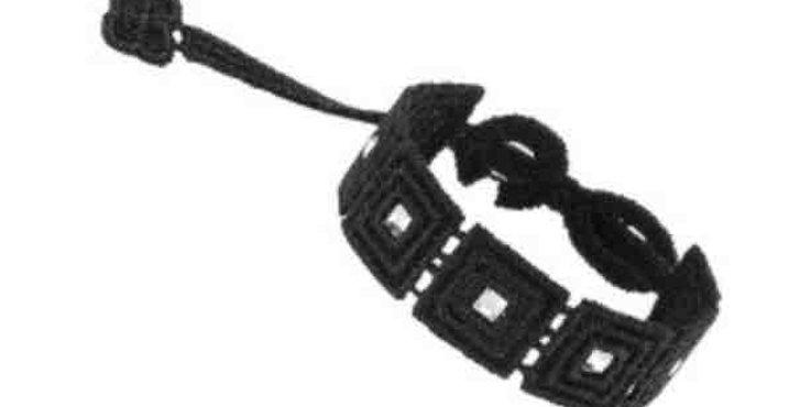 Bracelet crochet noir &  cristaux swarowski