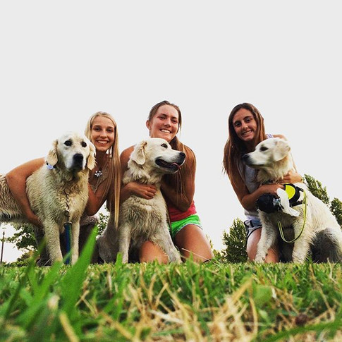 Darla, Libby, and Saylor going for a run with their humans.jpg How cute are these girls and their dogs_ Love it.jpg.jpg.jpg