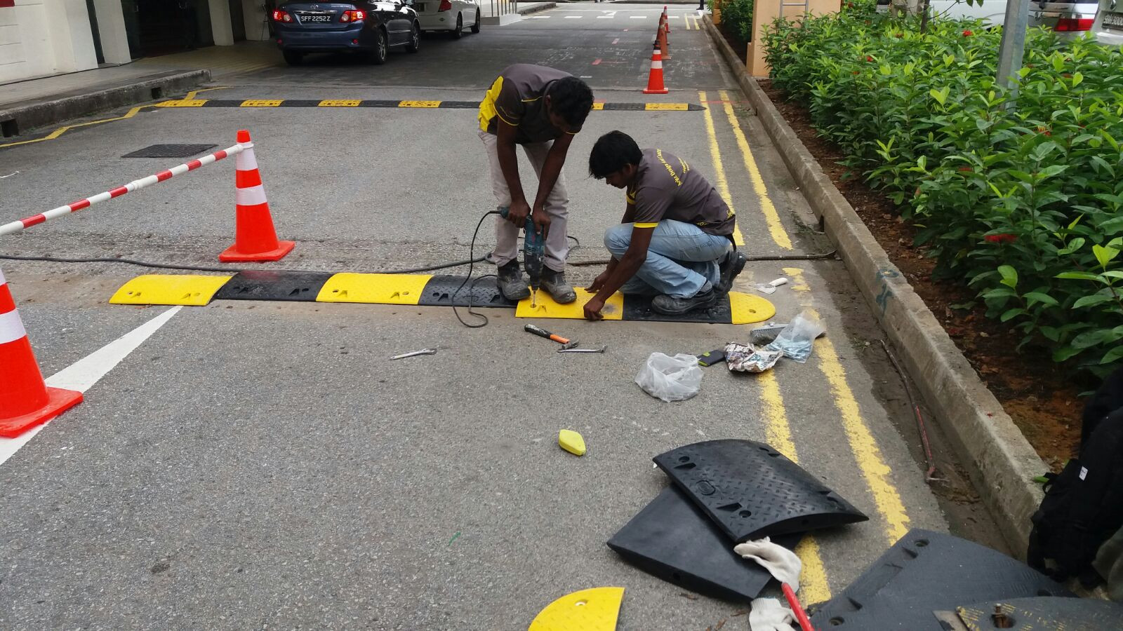 Rubber Road Hump Installation