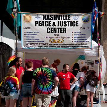 Our booth at 2019 Nashville Pride festival