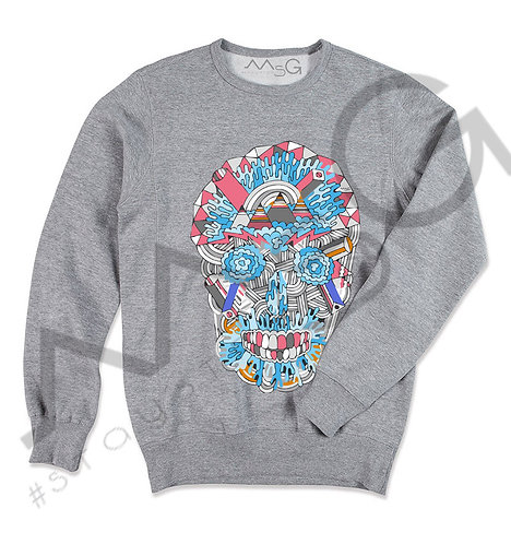 Skull Multicolor - Felpa Uomo Girocollo