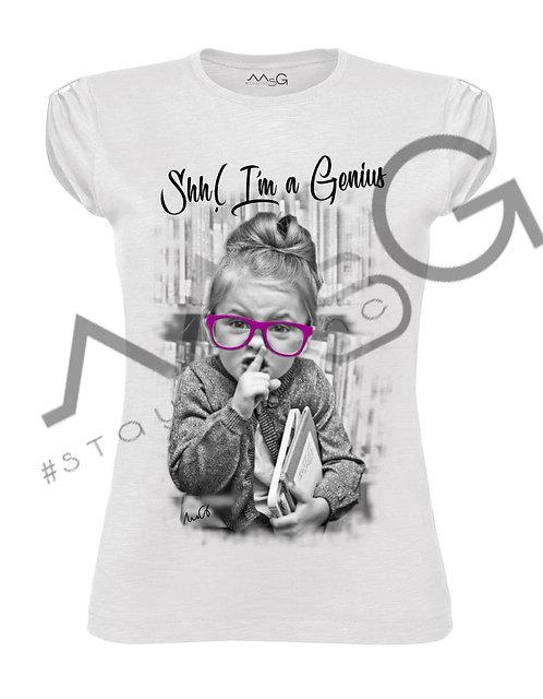 "T-Shirt ""Shh! I'm a genius"" donna"