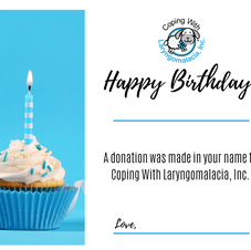 Birthday Donation Certificate