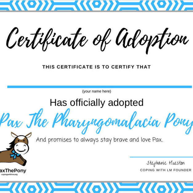 Pax's Adoption Certificate