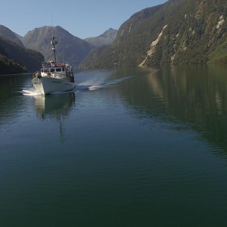 Heading down Breaksea Sound