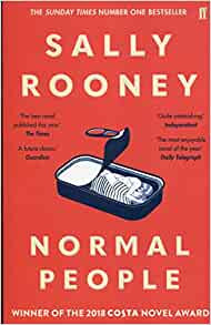 Book cover of Normal People. Red background with sketch of sardine tin lid unrolled to reveal a man and woman inside