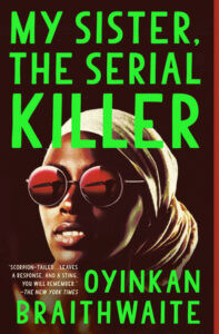 Book cover - woman in head covering and sunglasses against a black background, with the book title in green