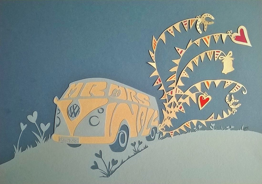 VW campervan wedding artwork