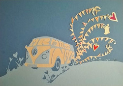 VW campervan wedding artwork