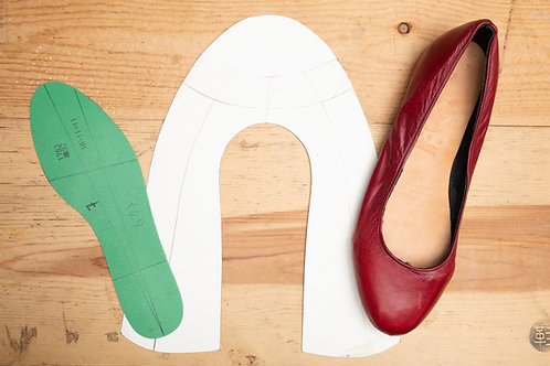 Paper Pattern for Ladies Ballet Flats Shoes Template - Pointy 女裝平低鞋紙樣 - 尖頭
