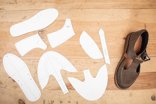 Paper Pattern for T strap - Unisex /男女裝平底丁帶鞋紙樣