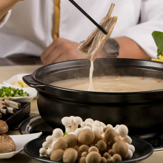 The broth is simmered for 6 hours to produce its rich taste.