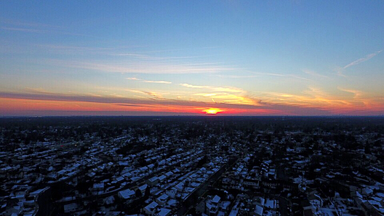 Winter Flying Sunset